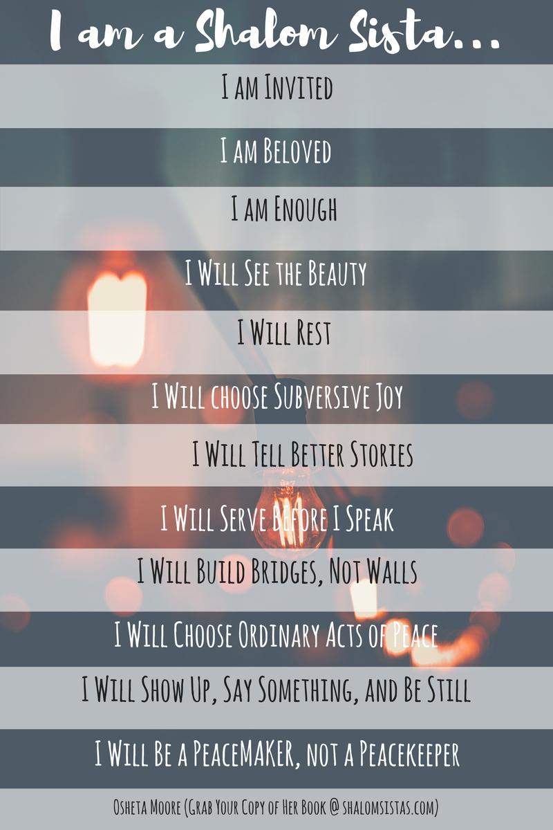 Shalom Manifesto from Osheta Moore's Shalom Sistas