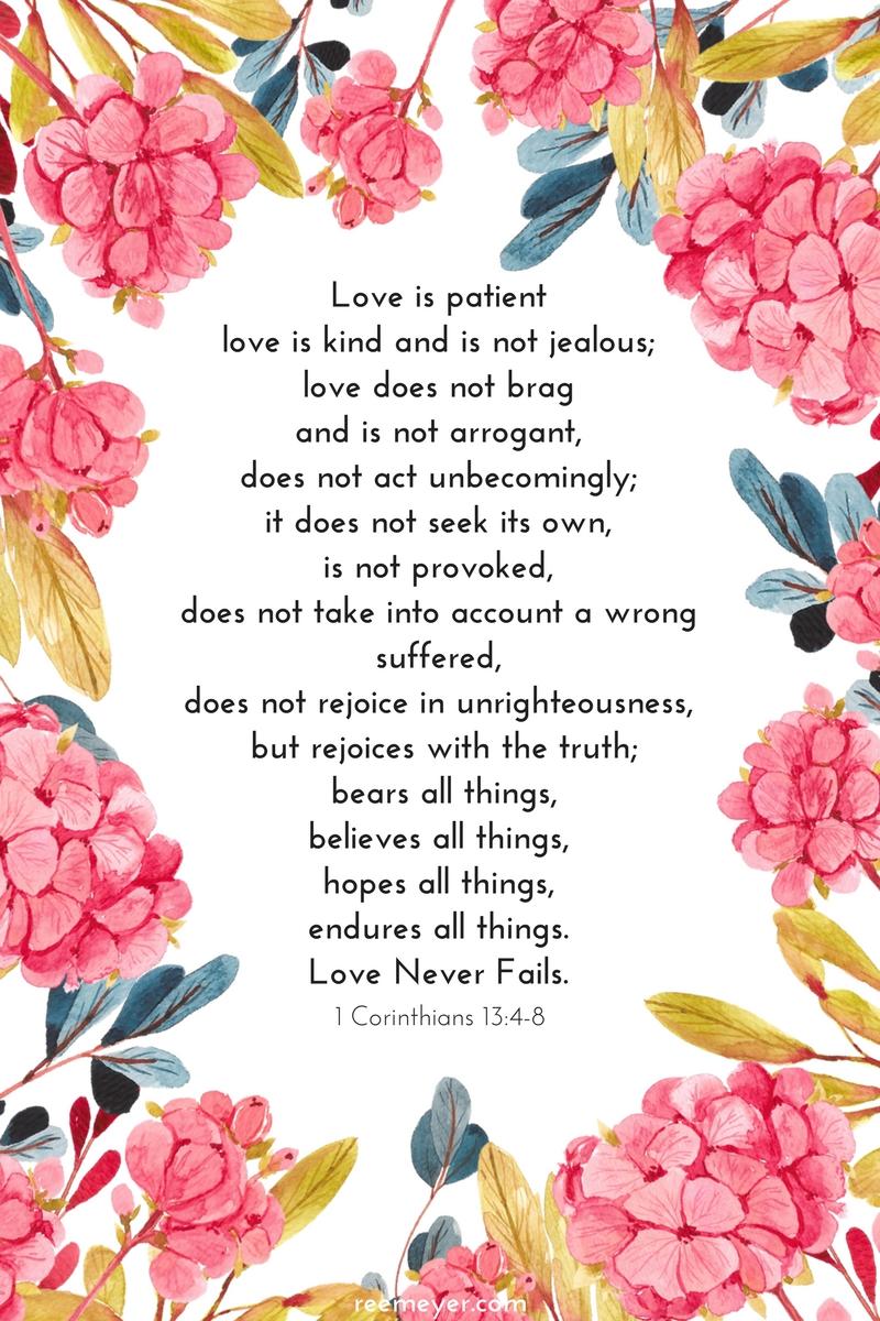 1 Corinthians 13 Printable from reemeyer.com